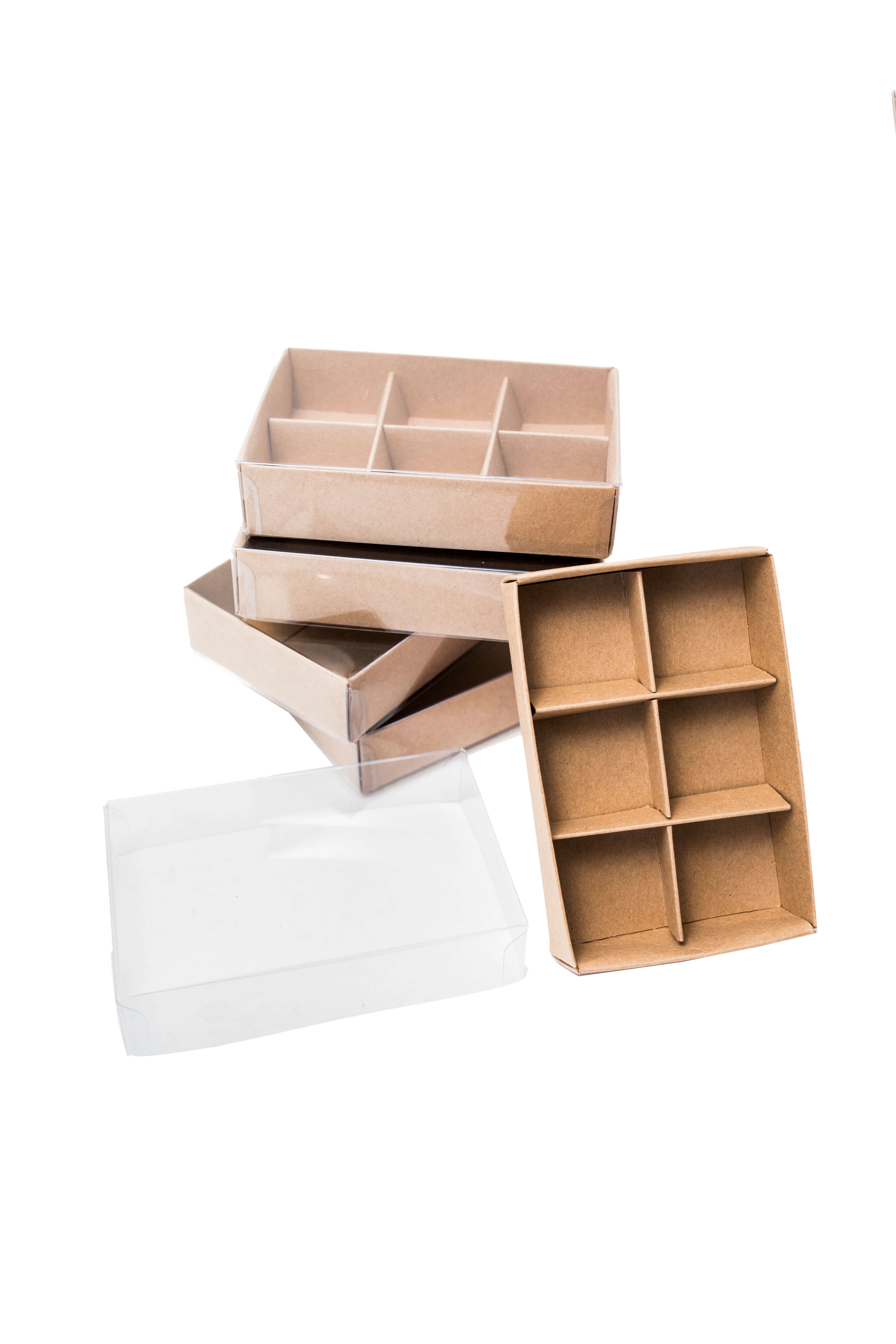 5 x 6 piece chocolate box with clear lid & insert