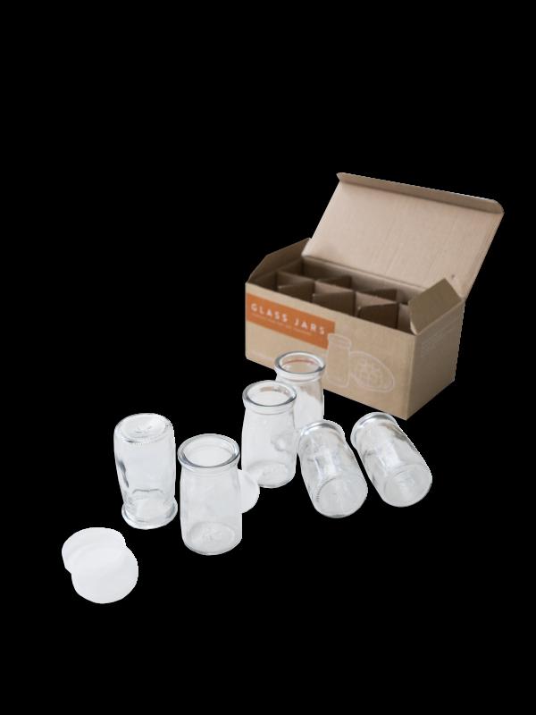 Glass yoghurt jars with lids (set of 8)