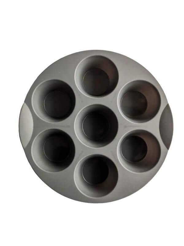 Grey 7 Cup Silicone Baking Tray (Circular)