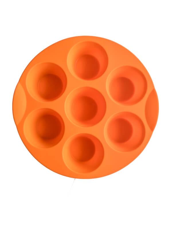 Orange 7 Cup Silicone Baking Tray (Circular)